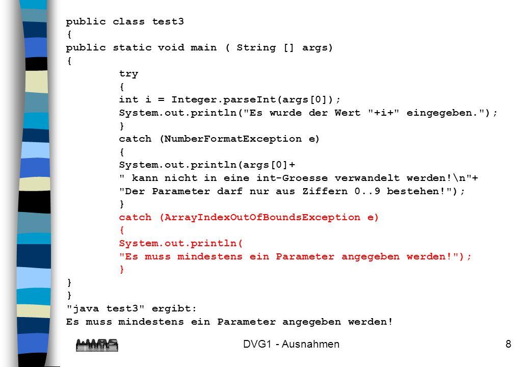 public class test3 { public static void main ( String [] args) try. int i = Integer.parseInt(args[0]);
